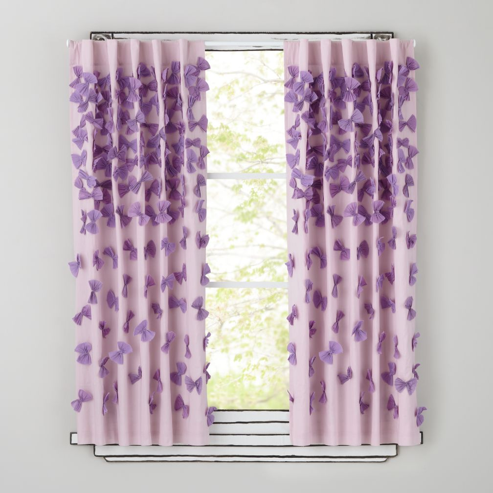 "63"" Bow Tied Curtain Panel (Lavender)"