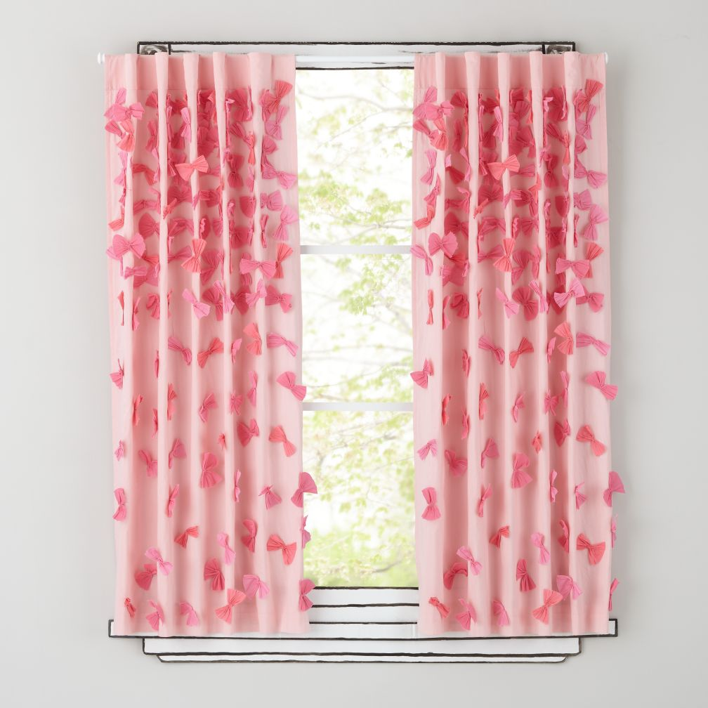 63&quot; Bow Tied Curtain Panel (Pink)