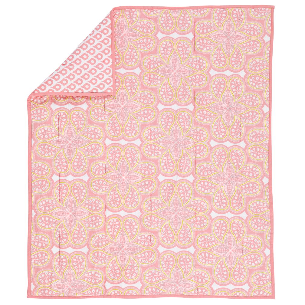 Mosaic Paisley Crib Blanket (Pink)