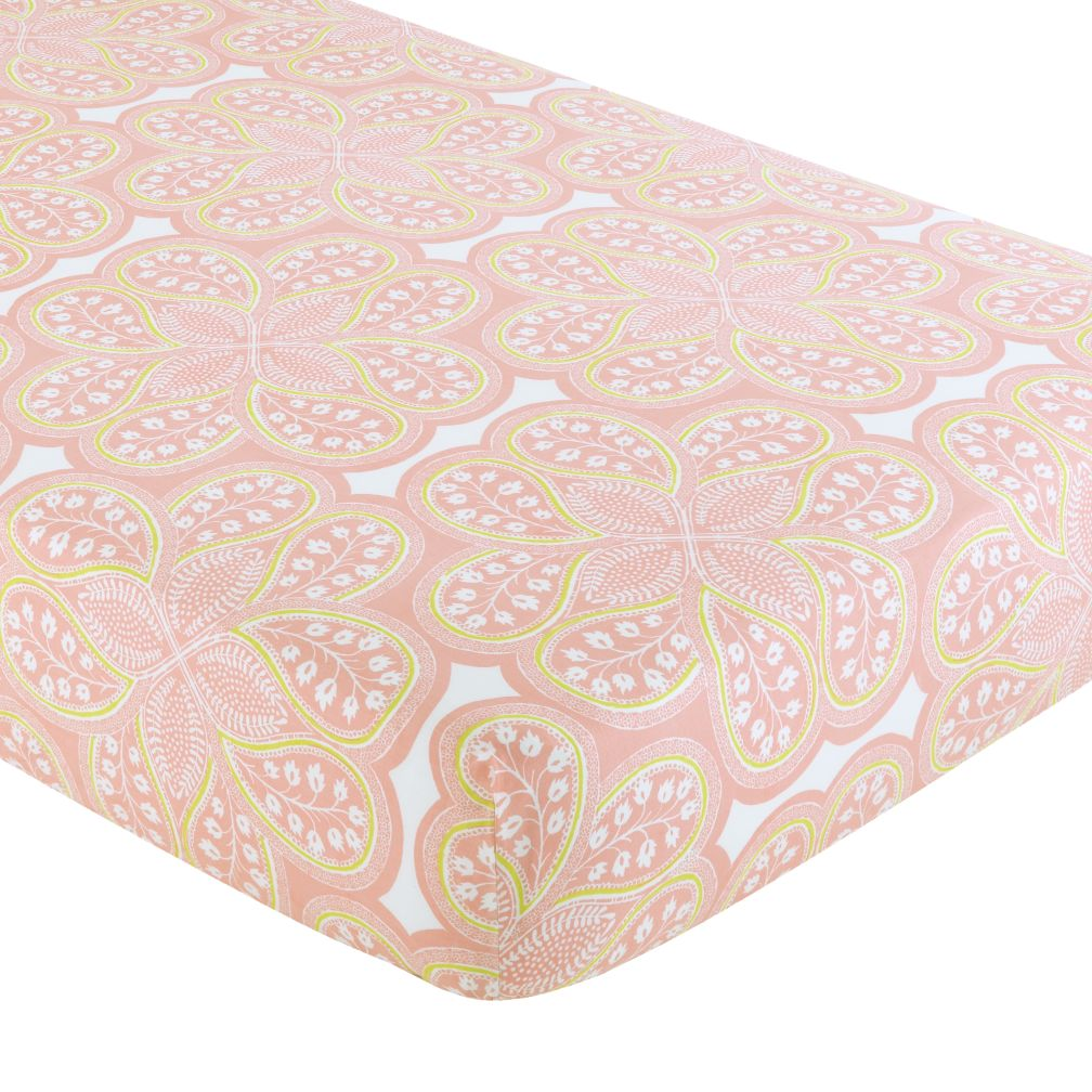 Mosaic Paisley Crib Fitted Sheet (Pink Paisley)