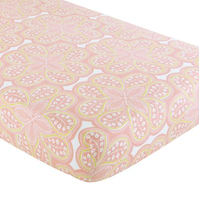 Mosaic Paisley Crib Fitted Sheet (Pink Floral)