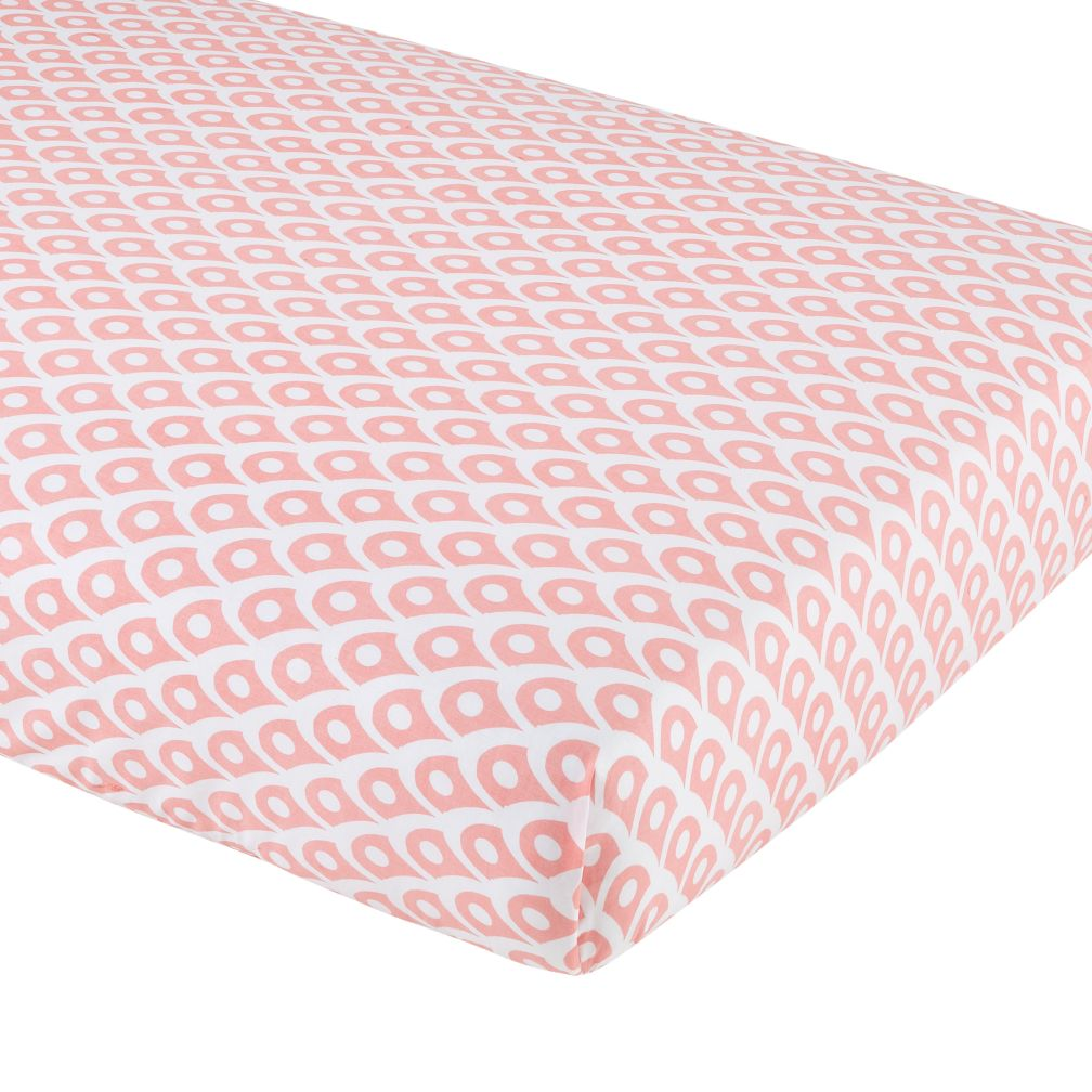 Mosaic Paisley Crib Fitted Sheet (Pink Diamond)