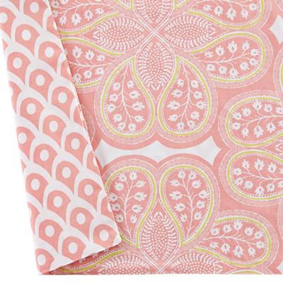 Mosaic Paisley Reversible Crib Skirt (Pink)
