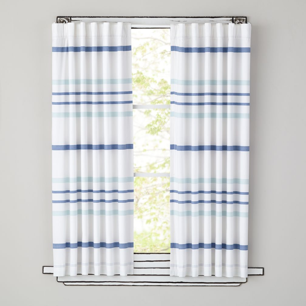 63&quot; Wide Ruled Curtain Panel (Blue)