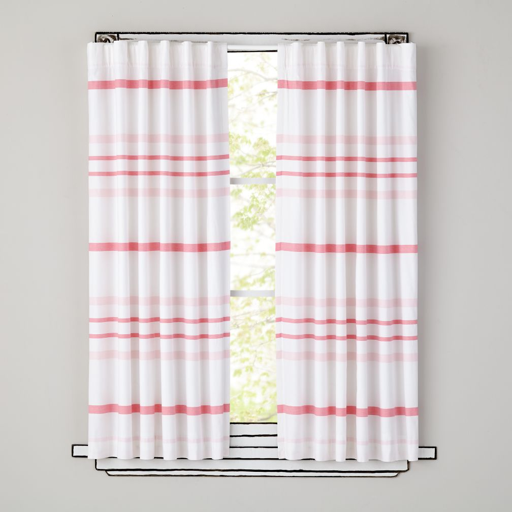 Wide Ruled Curtain Panels (Pink)