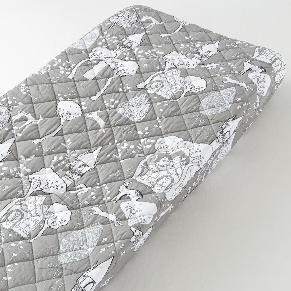 Changer Pad Cover (Grey Fairytale Print)