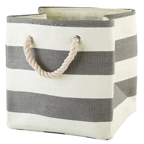Stripes Around The Cube Bin Grey The Land Of Nod