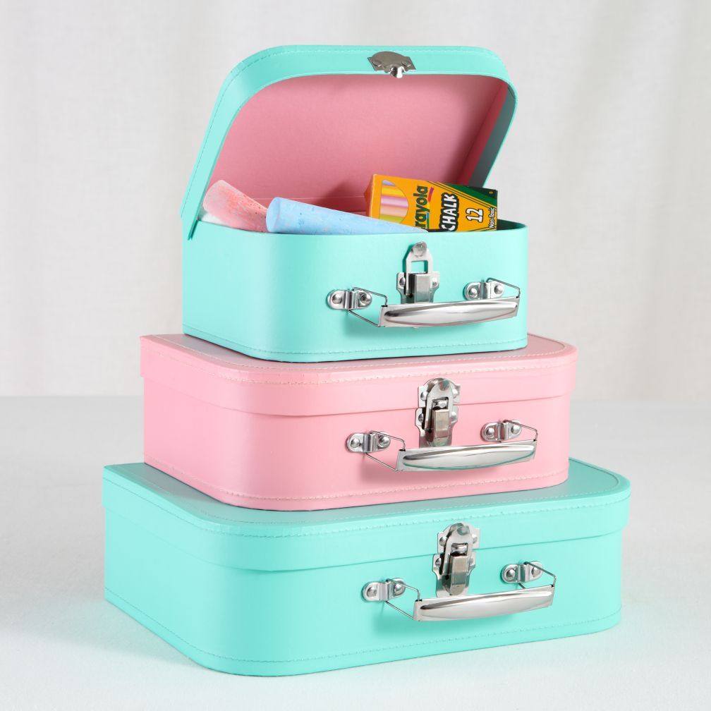 Bon Voyage Suitcase Set (Aqua/Pink)
