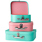 Aqua/Pink Bon Voyage Suitcases Set of 3