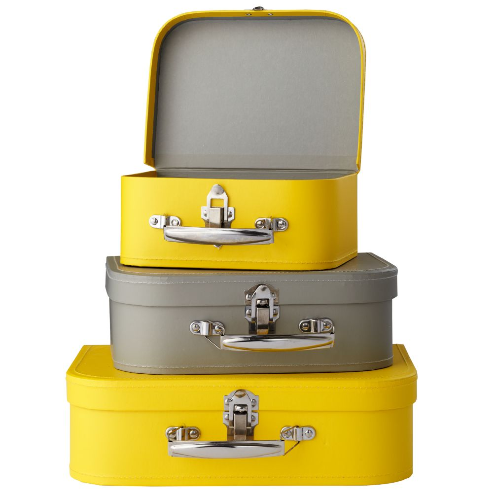 Yellow/Grey Bon Voyage Suitcases <br /><br />Set of 3
