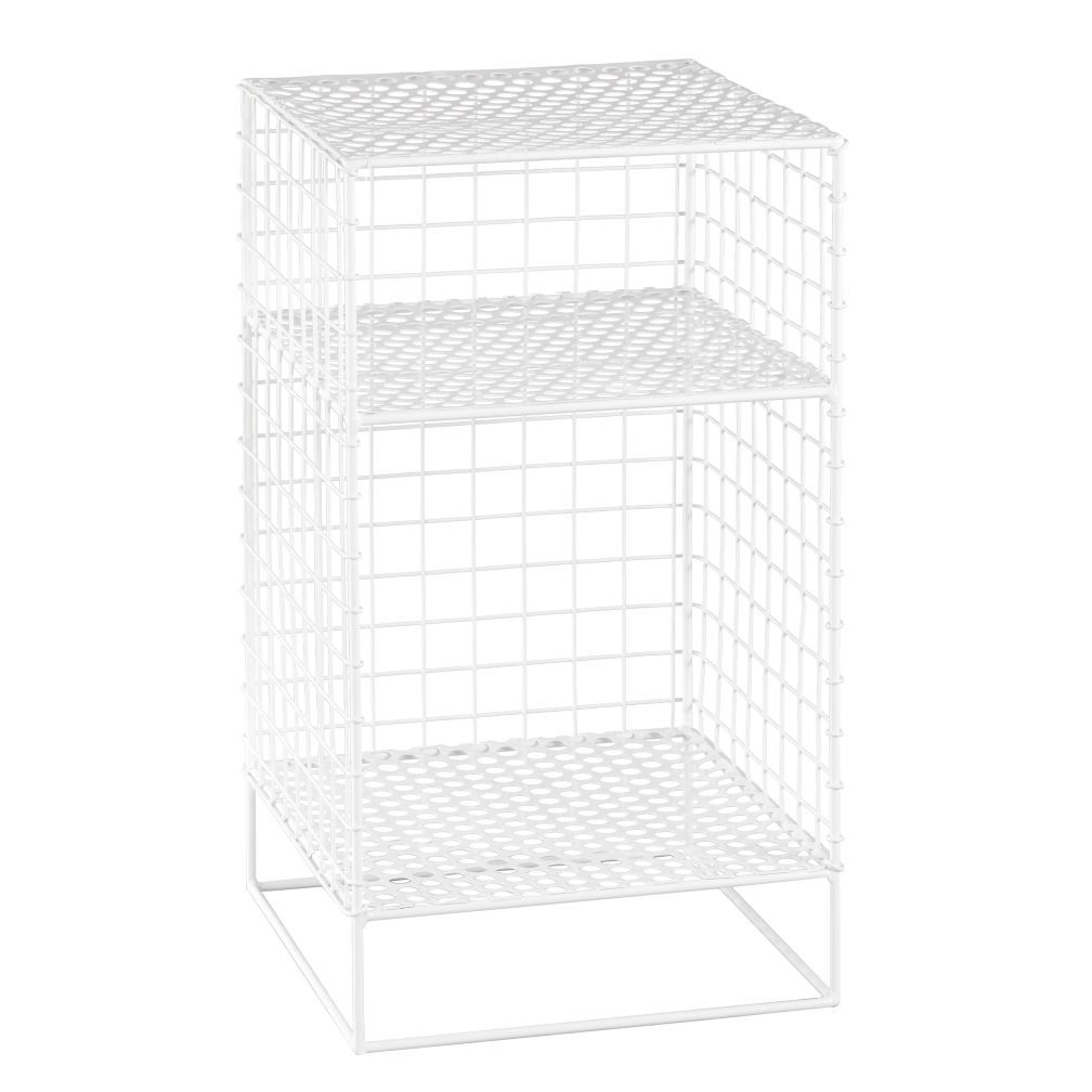 White 2-Cube On the Grid Nightstand