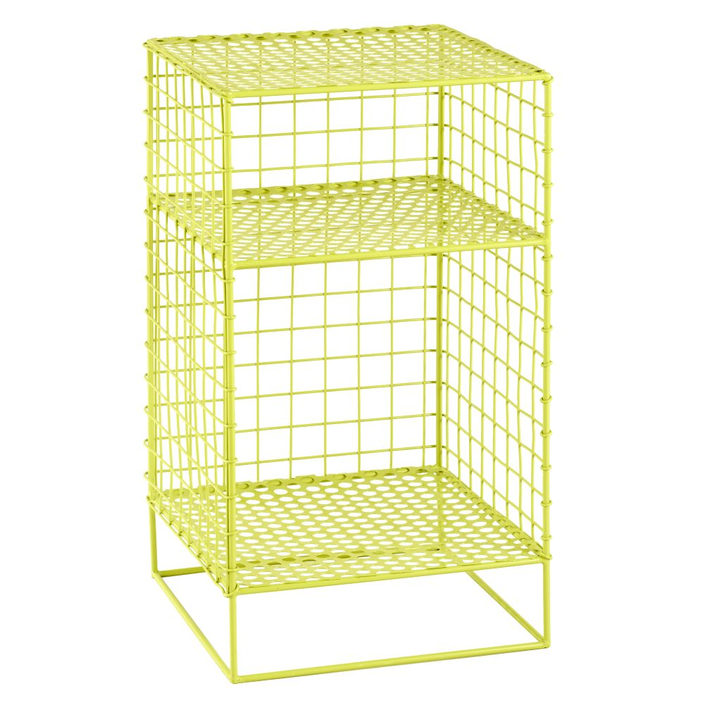 On the Grid 2-Cube Nightstand (Lime)