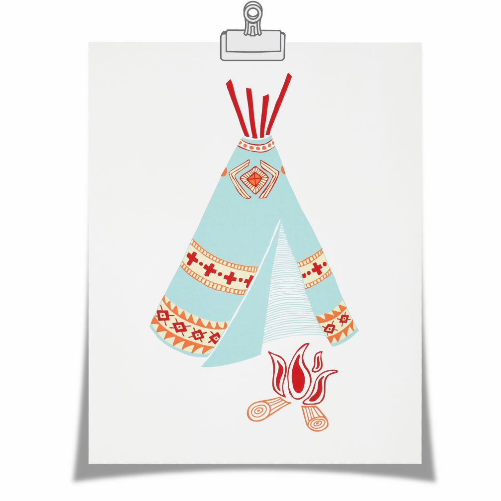 Teepee Campfire Wall Art