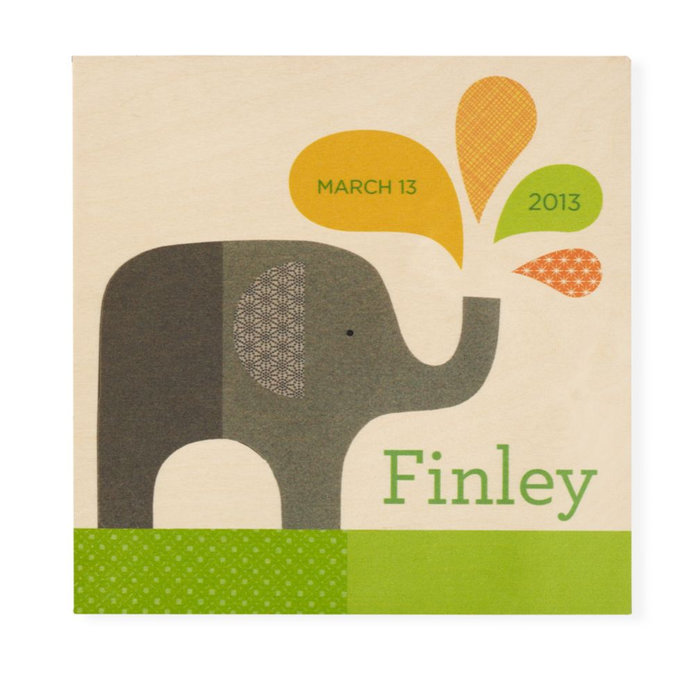 Personalized Wooden Wall Plaque (Elephant)