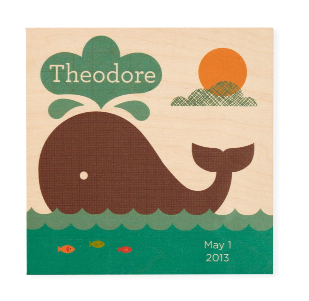 Personalized Wooden Wall Plaque (Whale)
