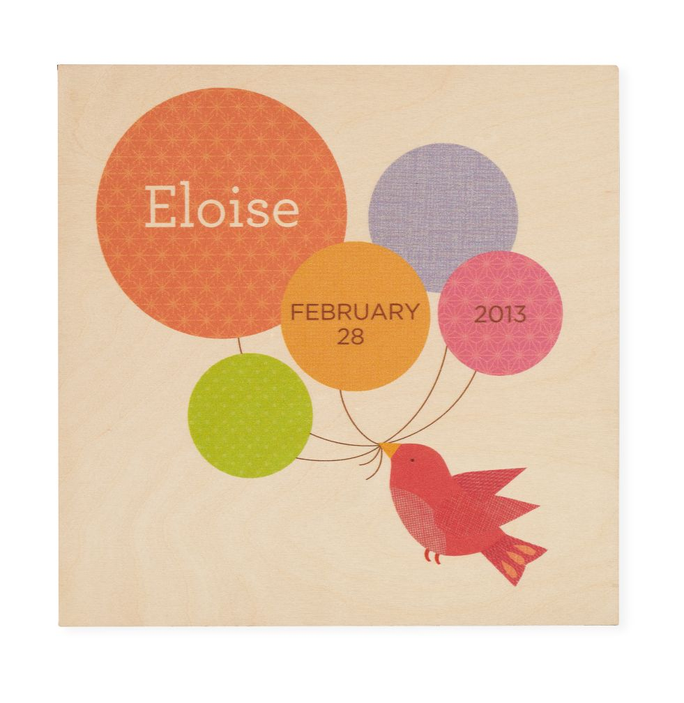 Personalized Wooden Wall Plaque (Balloons and Bird)