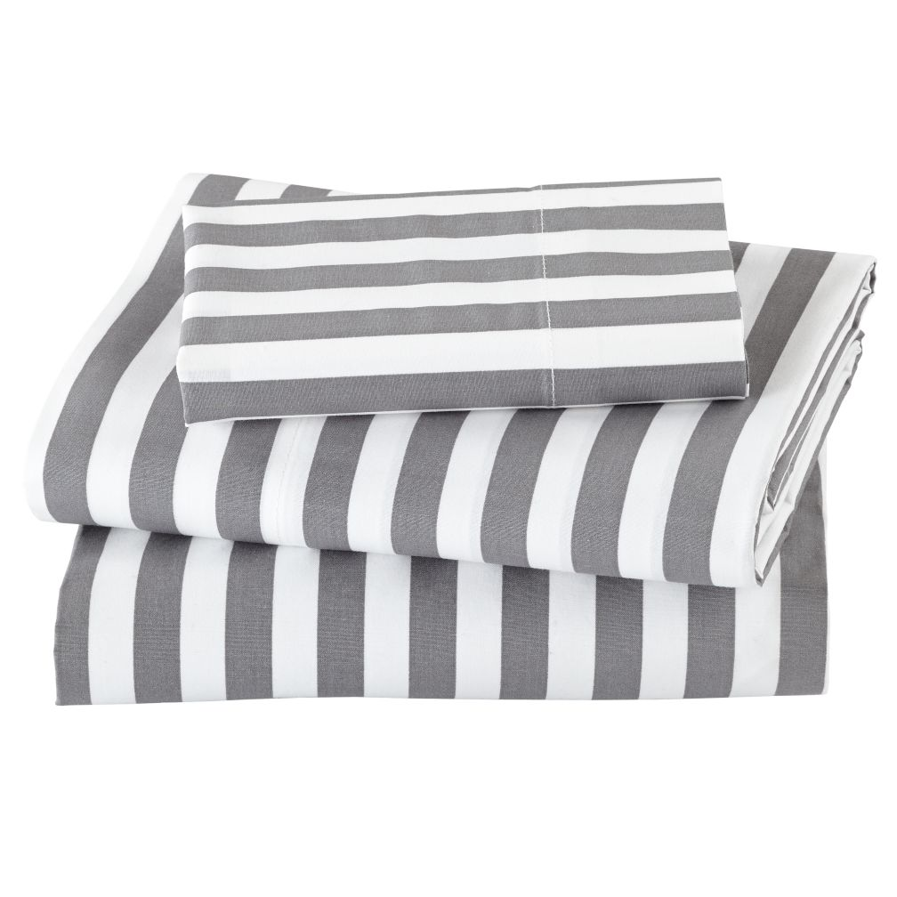 Not a Peep Toddler Sheet Set (Grey Stripe)