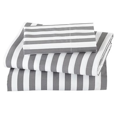 Not a Peep Toddler Sheet Set (Grey Stripe)