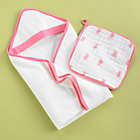 "Pink Fish Towel & Washcloth Set Towel: 32""x32""Washcloth: 15""x15"""