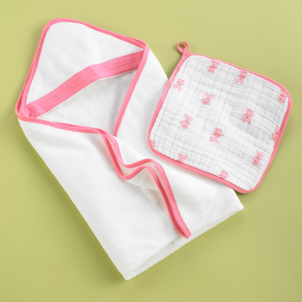 Wash Up Hooded Towel and Washcloth Set (Pink Fish)