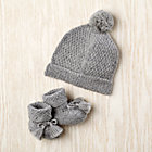 6-12 mos. Alpine Hat and Booties Grey Wool Set