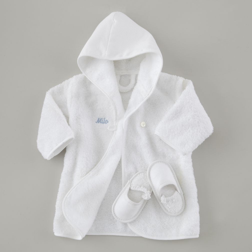 Personalized Bath Robe and Slippers Set (Blue Lettering)