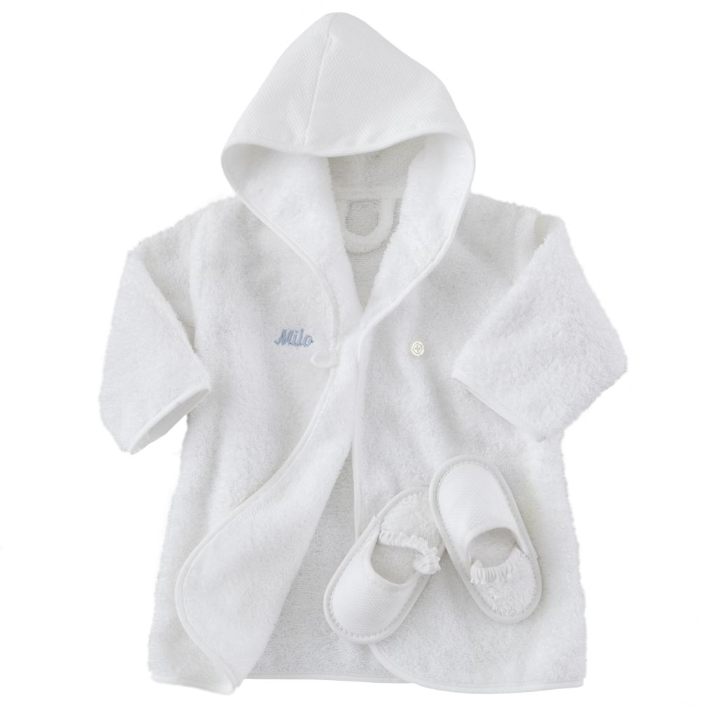 Personalized Baby Bathrobe and Slippers (Blue Lettering)