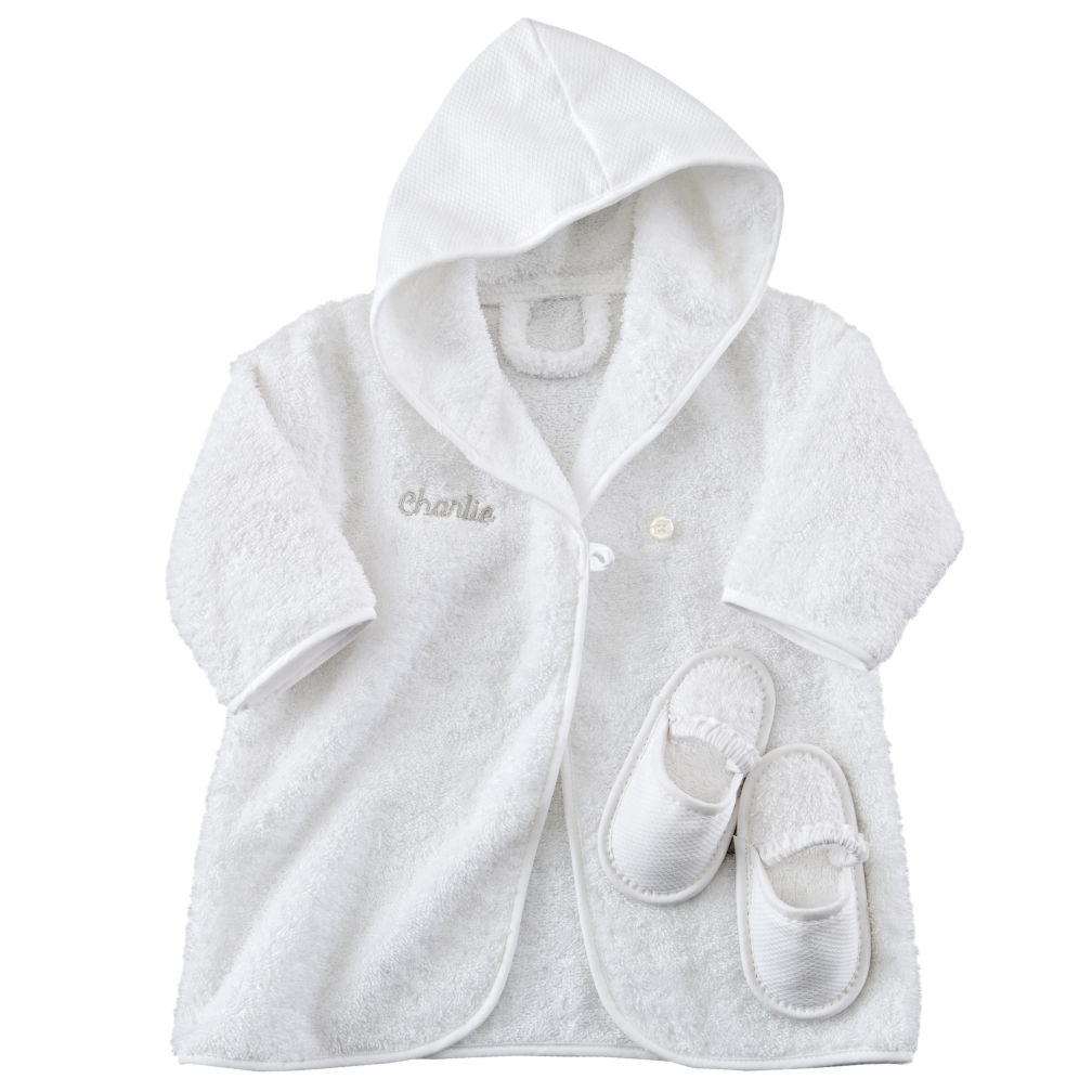 Personalized Baby Bathrobe and Slippers (Khaki Lettering)