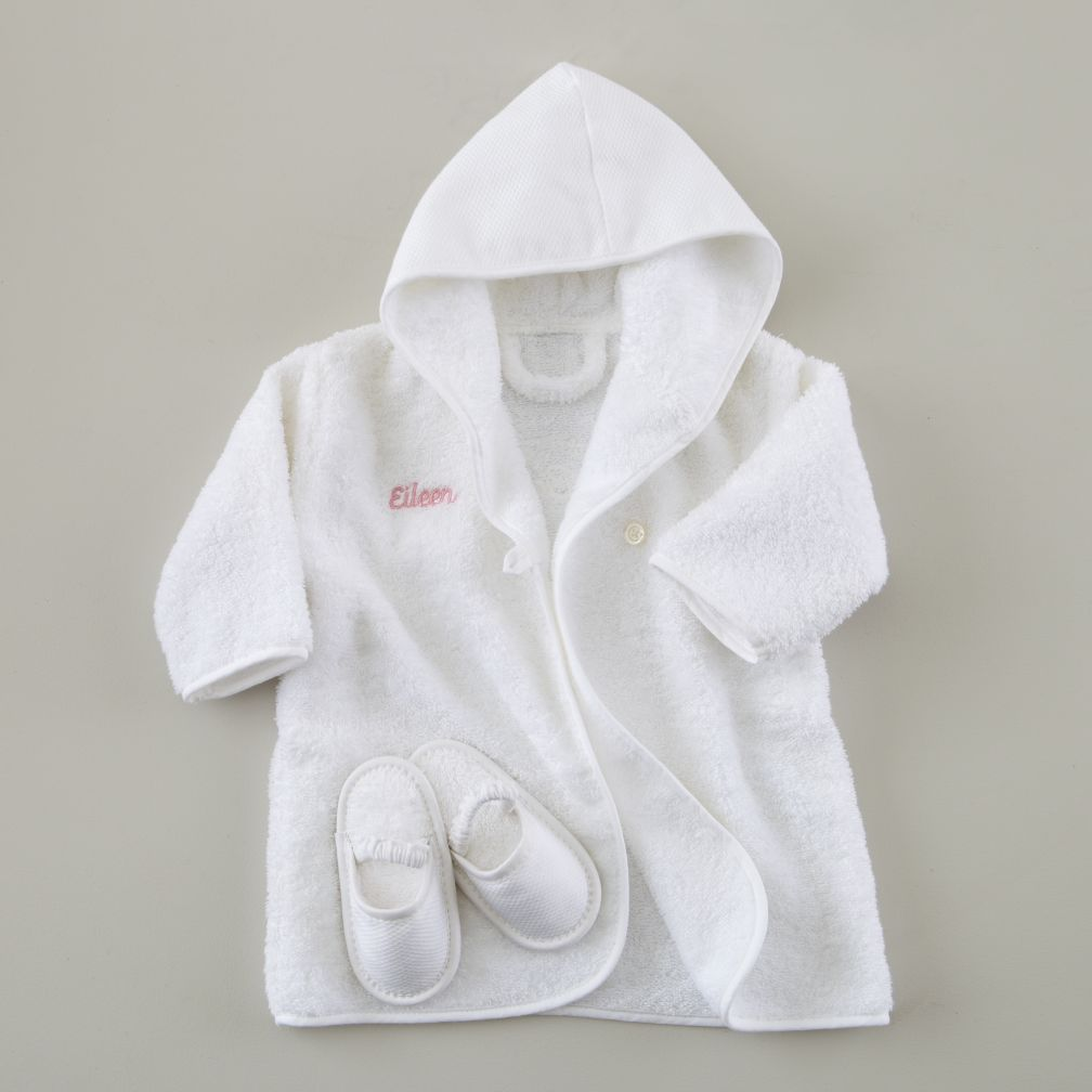 Personalized Bath Robe and Slippers Set (Pink Lettering)