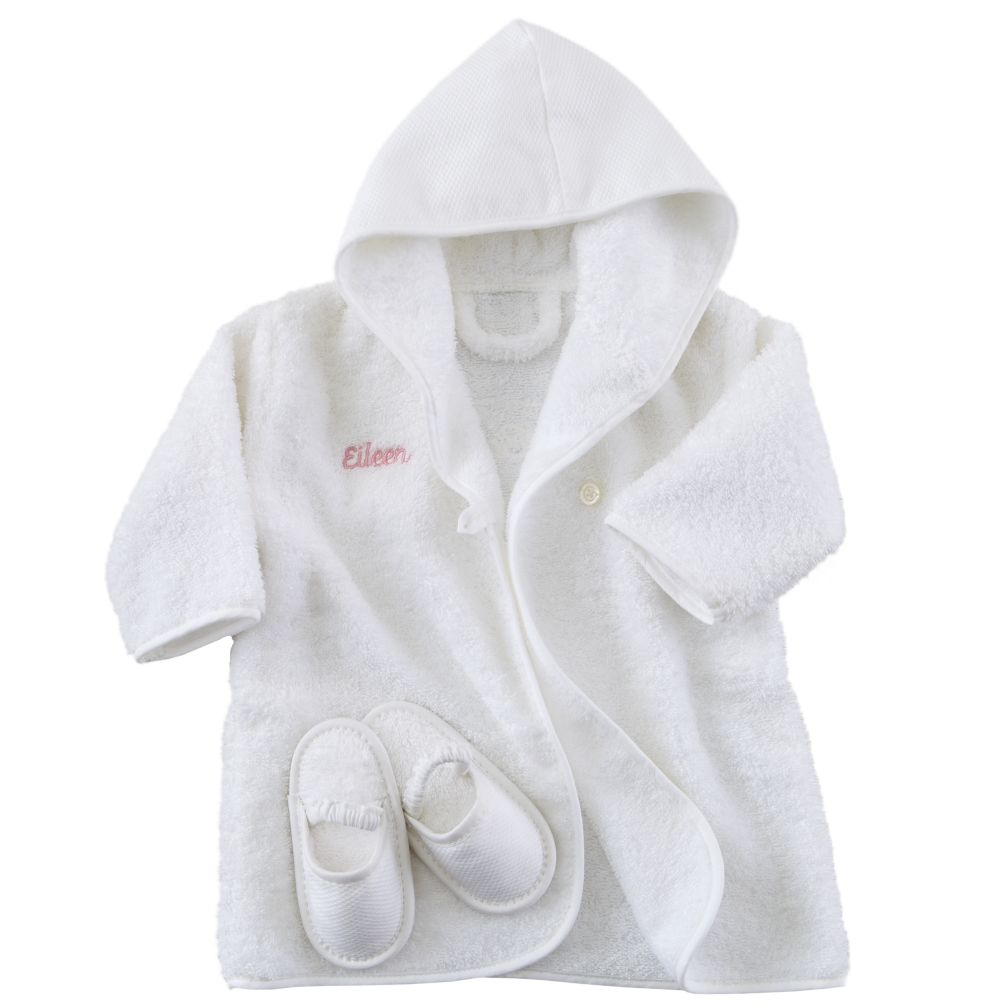 Personalized Baby Bathrobe and Slippers (Pink Lettering)