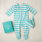 0-3 mos. Aqua Water Organic Footie & Hat Set