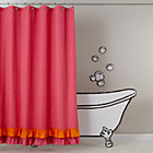 Pink Orange Ruffled Shower Curtain