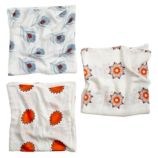 Orange Print Bamboo Swaddling Blankets