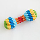 Multi Stripe Knit Barbell Rattle