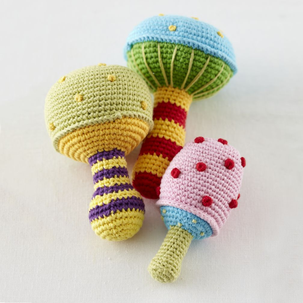 Mushroom Knit Rattles Set of 3