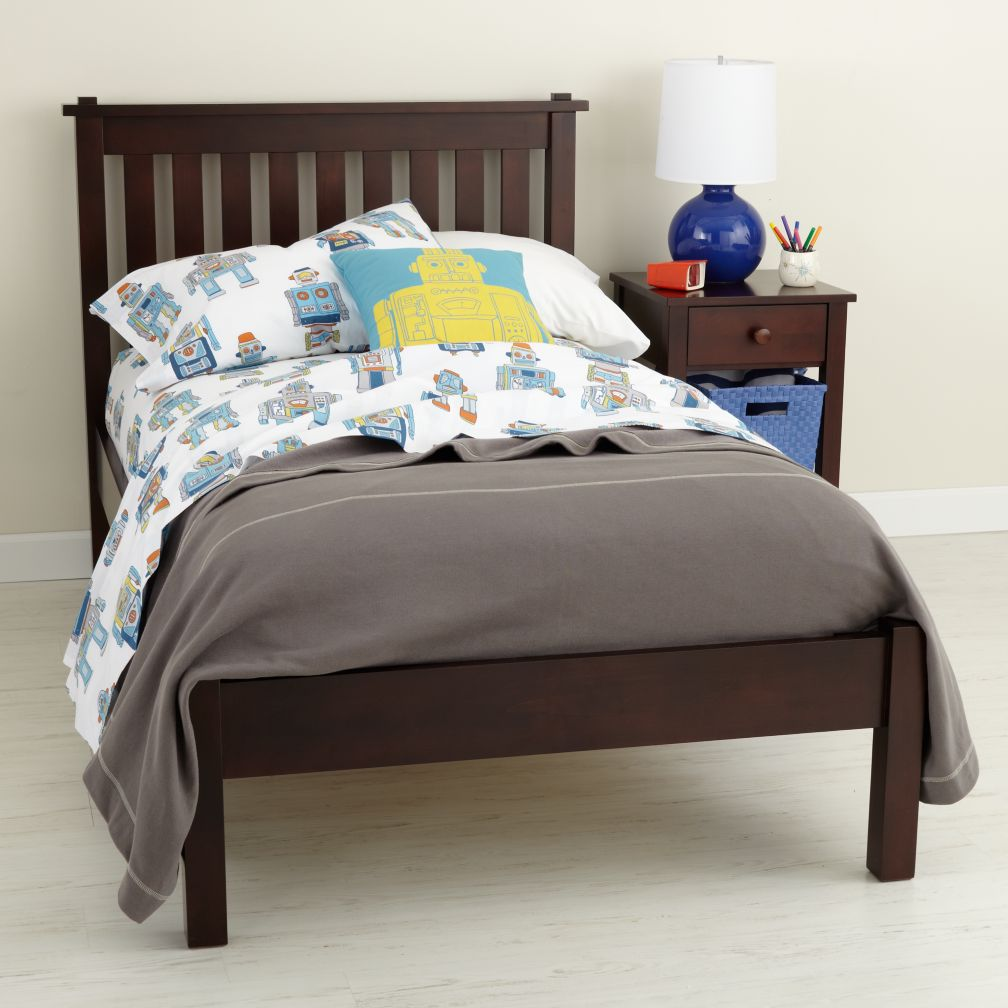 Espresso Simple Bed (Headboard w/Wood Frame)