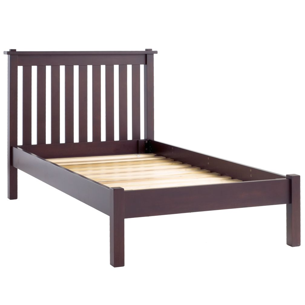 Simple Espresso Twin Bed (Headboard w/Wood Frame)