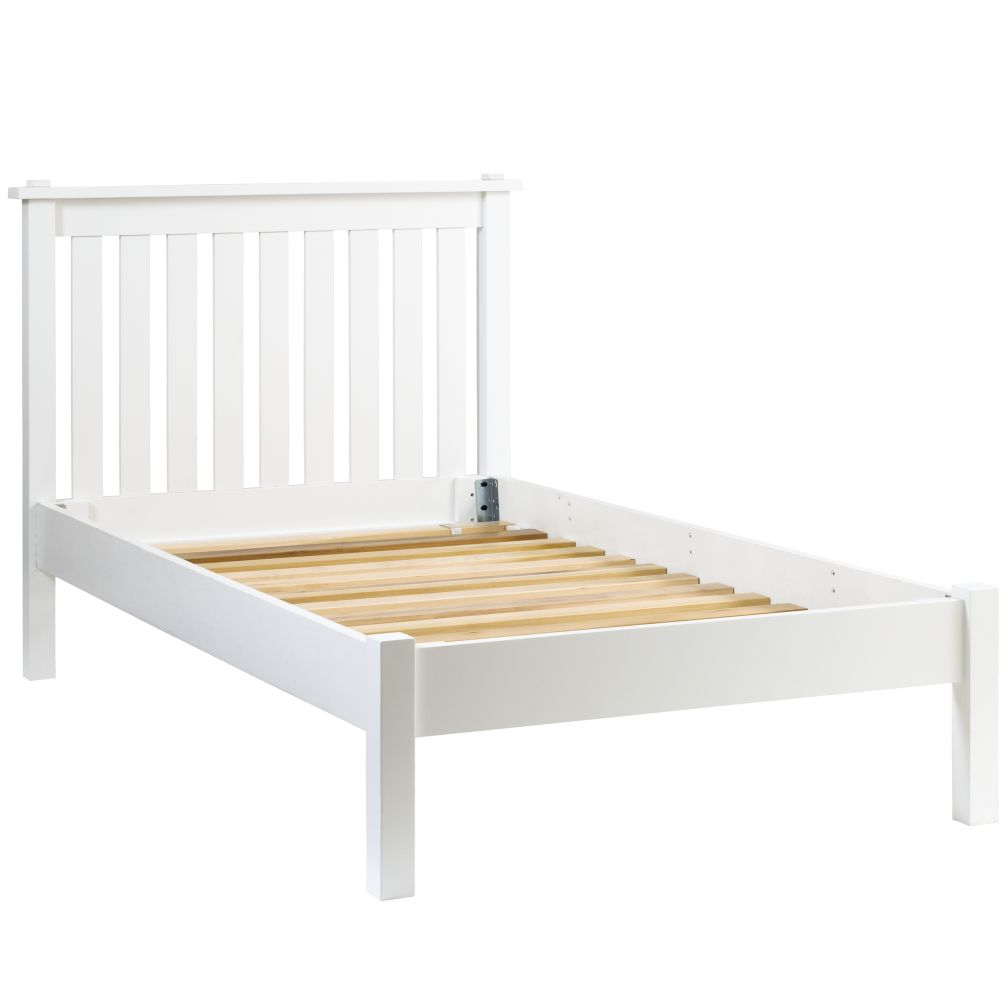 Simple White Twin Bed (Headboard w/Wood Frame)