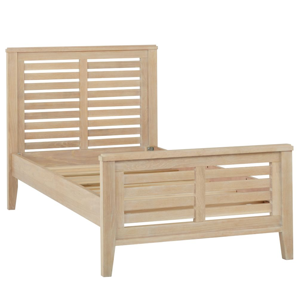 Twin Bayside Slatted Bed (Whitewash)