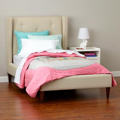 Marquee Upholstered Bed (Cream w/ Pink)