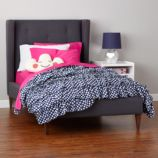 Marquee Upholstered Bed (Grey w/ Hot Pink)
