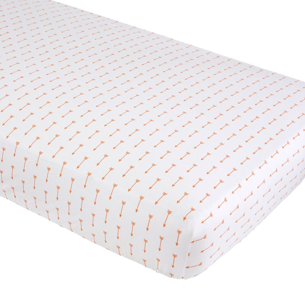Iconic Crib Fitted Sheet (Orange Arrow)