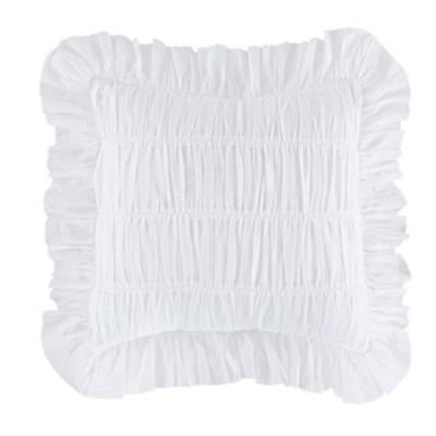 White Antique Chic Rouched Throw Pillow