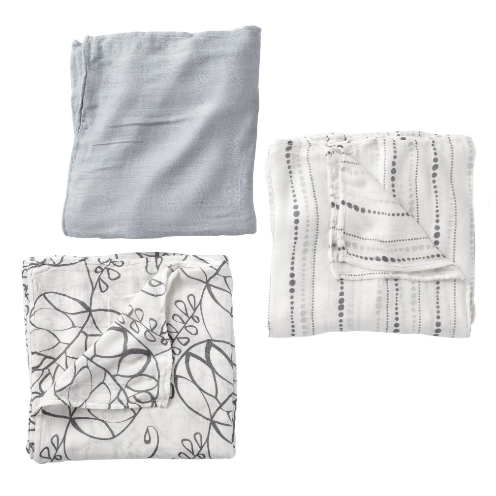 Grey Bamboo Swaddling Blankets