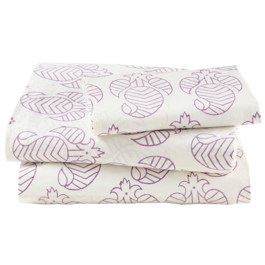 Twin Purple Bazaar Sheet Set<br /><br />(includes 1 fitted sheet, 1 flat sheet and 1 case)