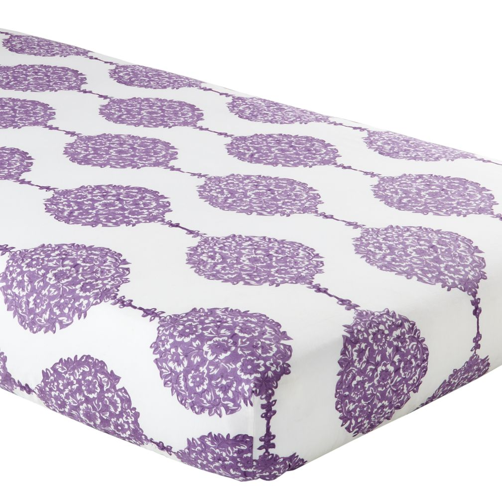 Crib Fitted Sheet (Purple Pendant Print)