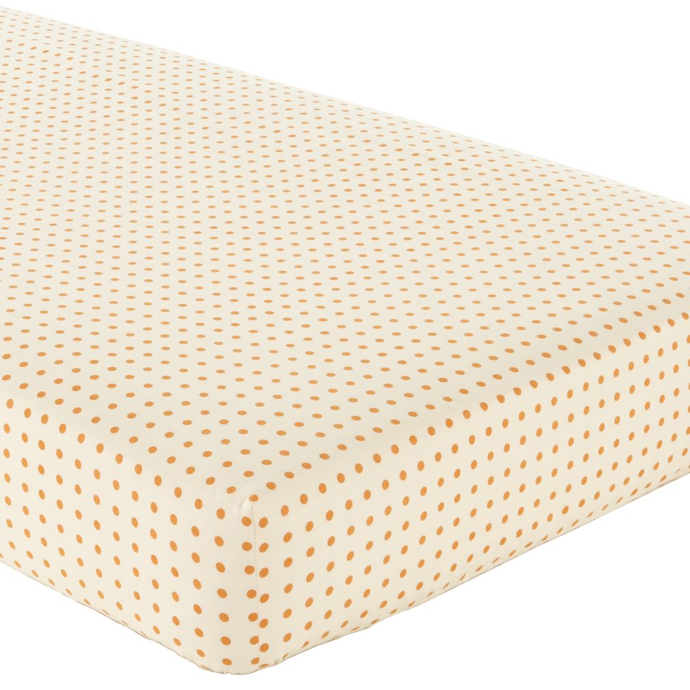 Bright Eyed, Bushy Tailed Crib Fitted Sheet (Orange Dot)