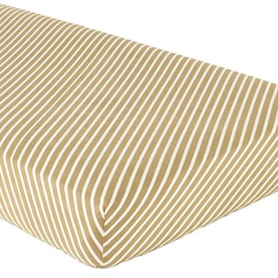 Bright Eyed Crib Fitted Sheet (Green Stripe)