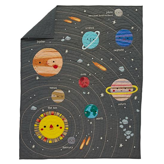 Deep space baby quilt the land of nod for Space themed fabric