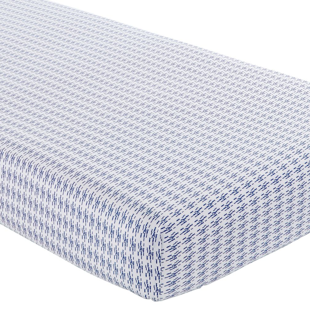 Fine Prints Crib Fitted Sheet  (Blue Fish)